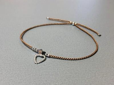 Seidenarmband mit Herz Silber