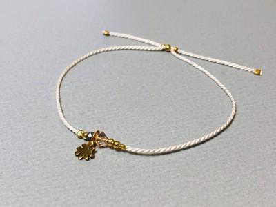 Seidenarmband mit Kleeblatt Silber vergoldet