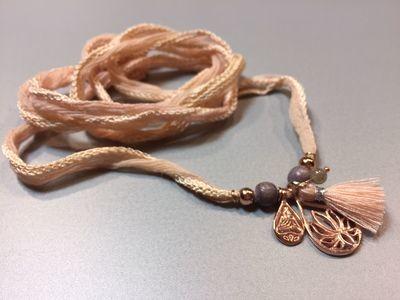 Seiden-Wickelarmband mit Lotus und Buddhaanhänger Silber rose vergoldet
