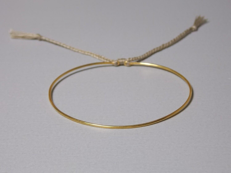 Silberarmreif vergoldet mit Baumwollband oliv