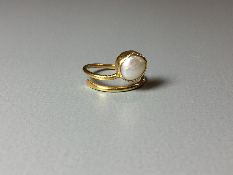 Silberring vergoldet mit Süßwasserperle