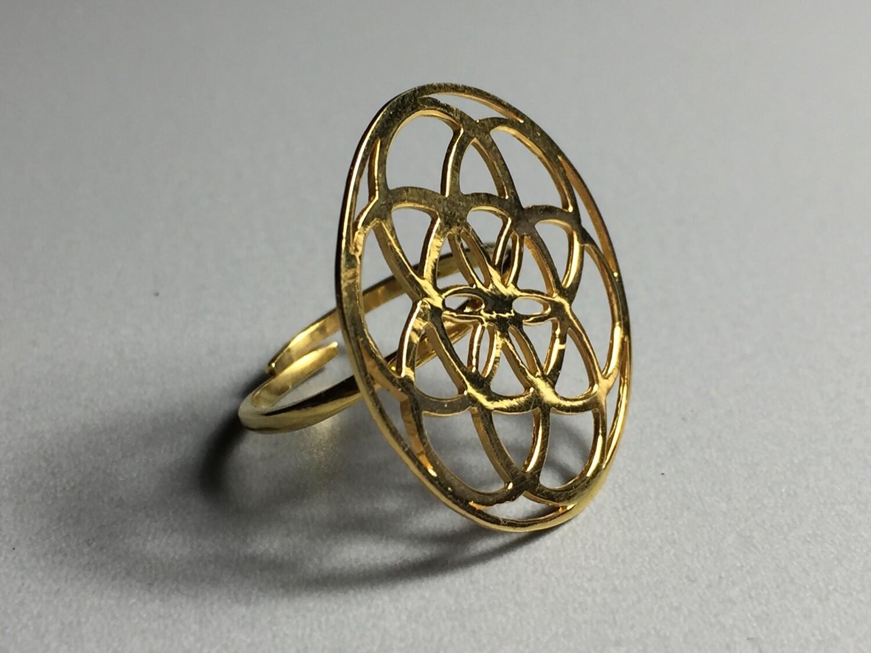 Silberring vergoldet Mandala