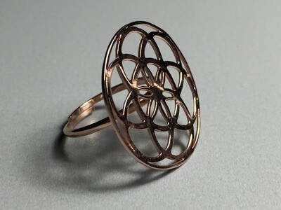 Silberring rose vergoldet Mandala