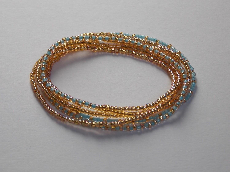 Stretch-Armbandkette gold türkisblau