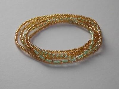 Stretch-Armbandkette gold hellgrün