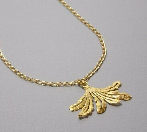 Halskette Silber vergoldet mit Fächerblatt
