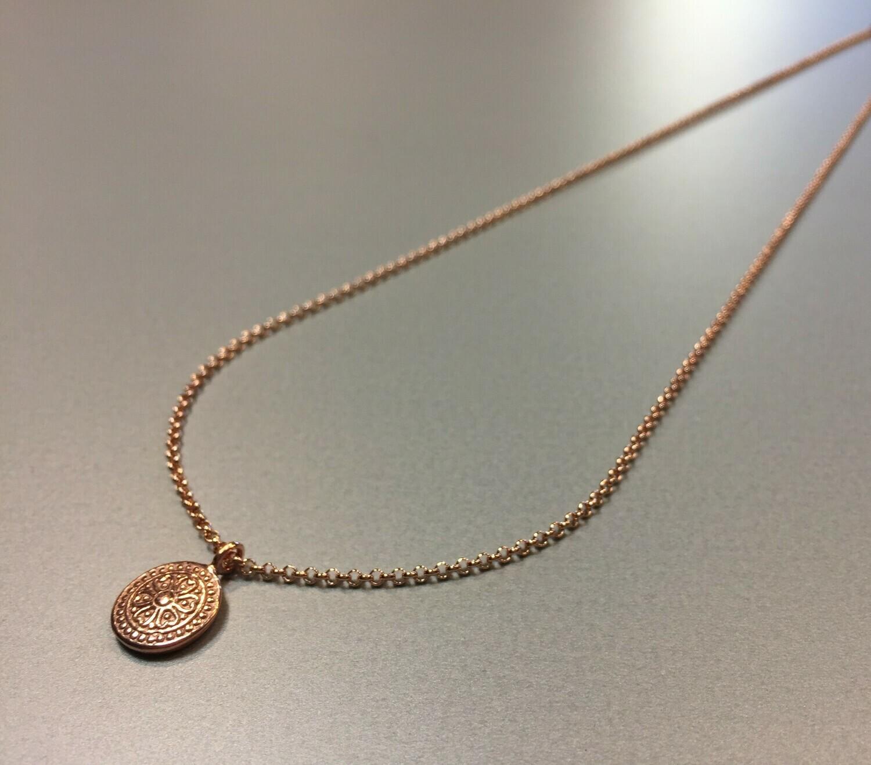 Halskette mit Anhänger Medallionstyle Silber rose vergoldet