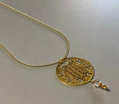 Kugelkette mit großem Mandala Silber vergoldet