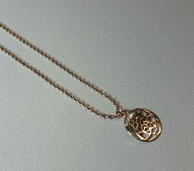 Kurze Halskette mit Lebenskreise Silber rose vergoldet