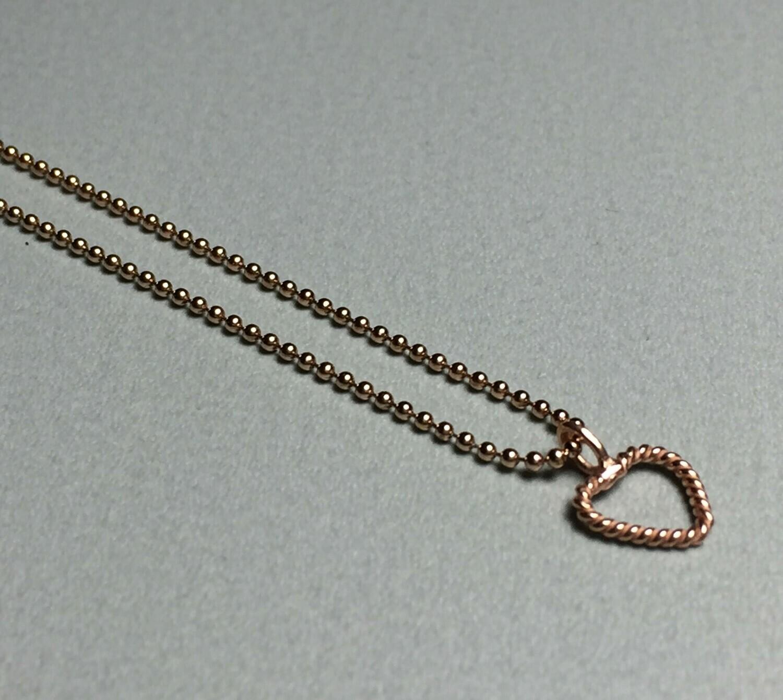 Kurze Kugelkette mit Herzchen Silber rose vergoldet