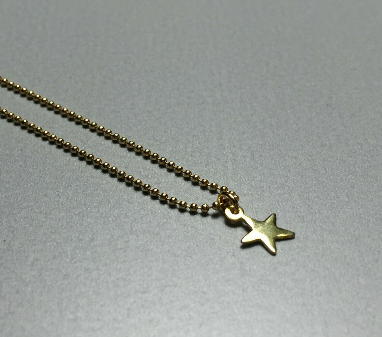 Kurze Kugelkette mit Sternchen Silber vergoldet