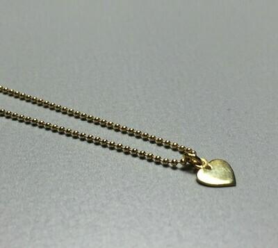 Kurze Kugelkette mit Herzchen Silber vergoldet