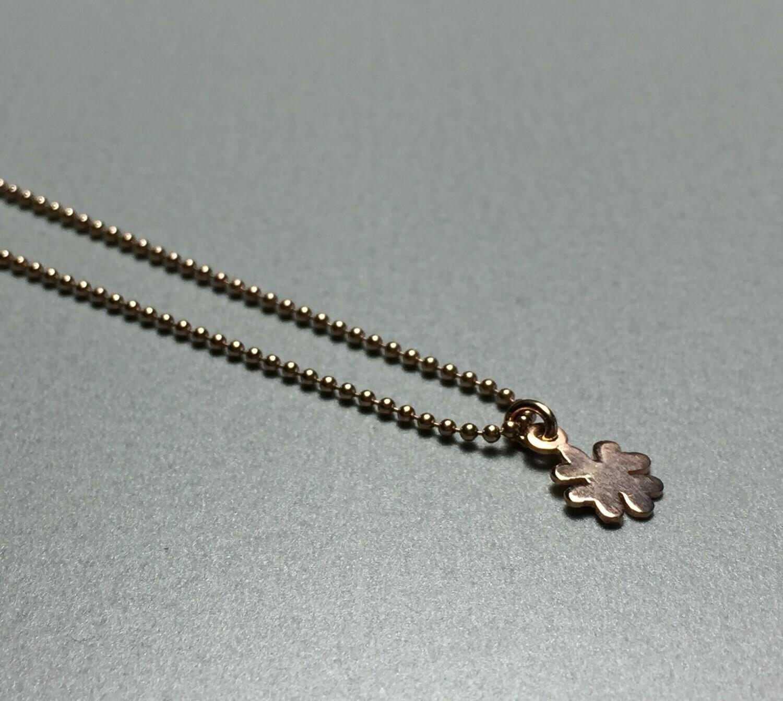 Kurze Kugelkette mit Kleeblatt Silber rose vergoldet