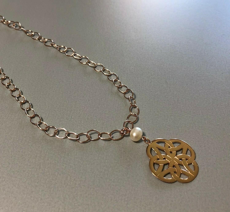 Lange Gliederkette mit Symbol Silber rose vergoldet und Perle