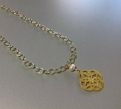 Lange Gliederkette mit Symbol Silber vergoldet und Perle