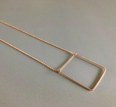 Lange Halskette Silber rose vergoldet mit quadratischem Element