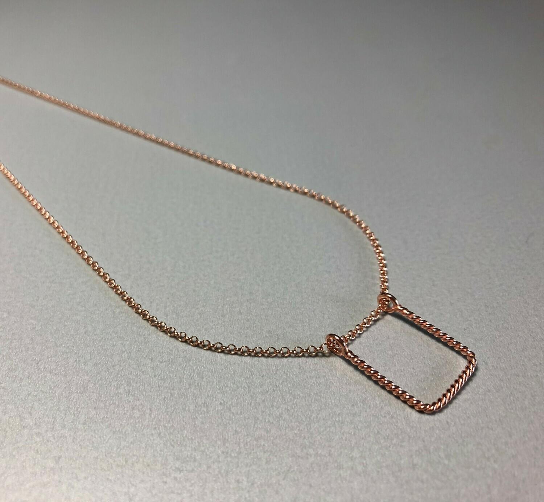 Halskette Silber rose vergoldet mit quadratischem Element