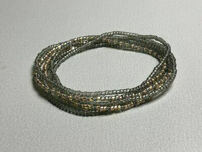 Stretch-Armbandkette graugrün gold