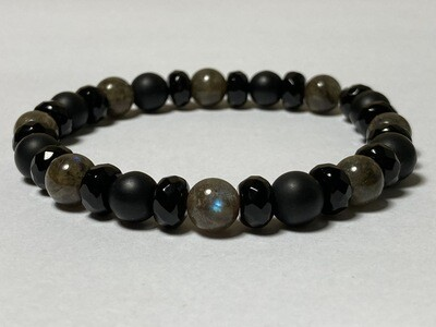 Flexibles Herrenarmband Onyx und Labradorit
