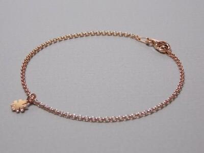 Silberarmband rose vergoldet mit Kleeblatt