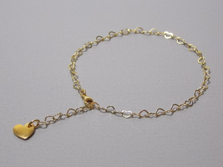 Silberarmband vergoldet Herzchen