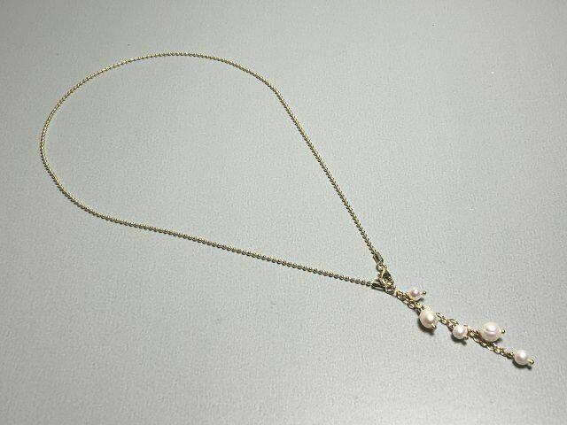 Kugelkette Silber vergoldet mit Perlen