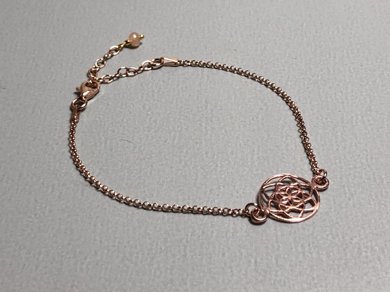 Silberarmband rose vergoldet mit Lebenskreise