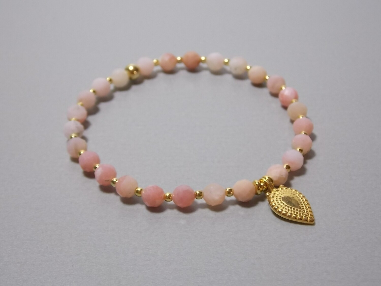 Armband Pink Opla mit Anhänger Silber vergoldet