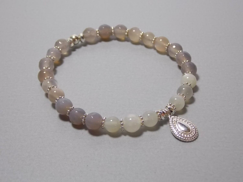 Armband Mondstein und Achat mit Anhänger Silber