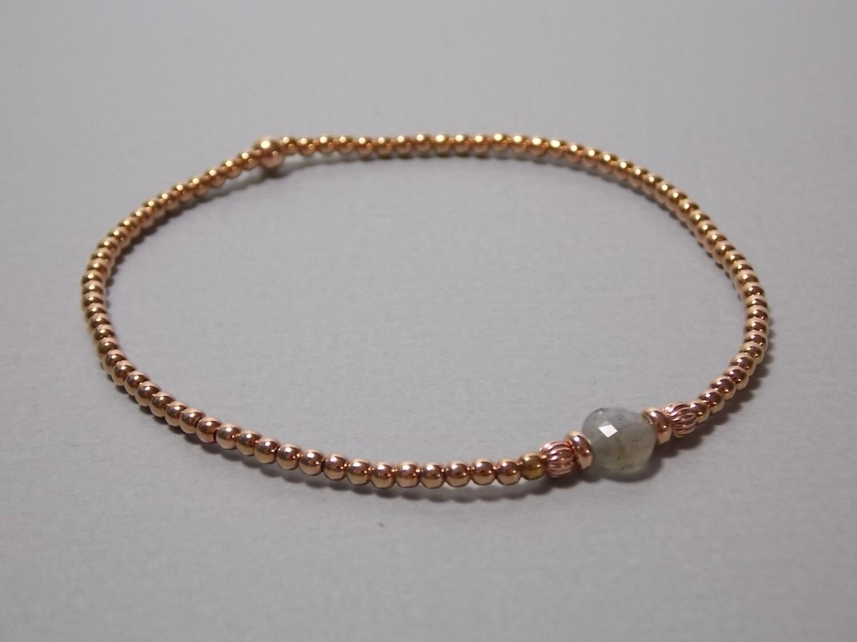 Armband aus Silberkugeln rose vergoldet Labradorit