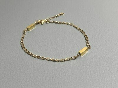 Armband mit Hematitstäbchen Silber vergoldet