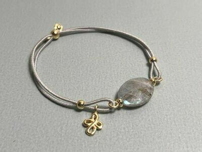 Elastisches Armband Labradorit und Silbercharms vergoldet