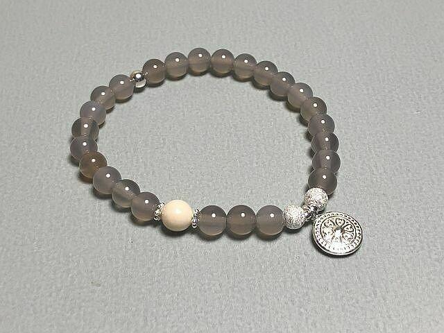 Armband Achat mit Silberelementen