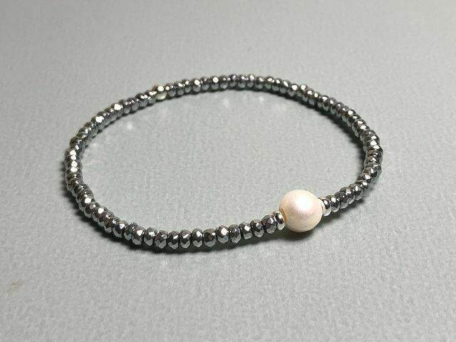 Armband Hematit und Perle