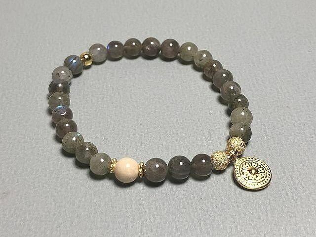 Armband Labradorit mit Silberelementen vergoldet