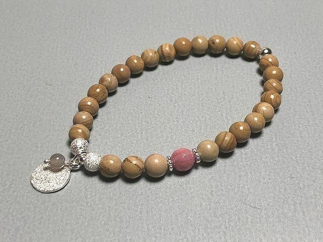 Armband Naturstein mit Silberelementen
