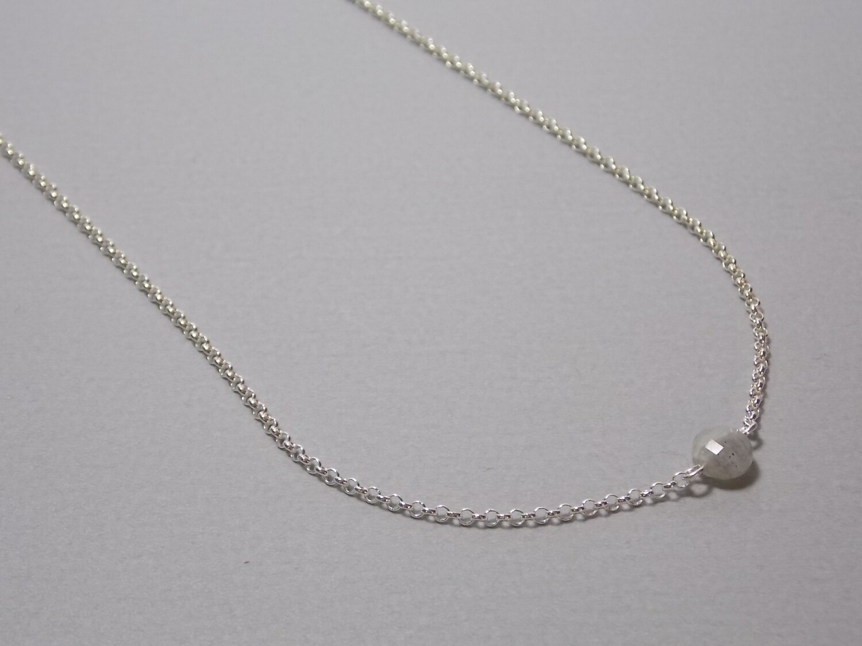 Kurze Halskette Silber mit Labradorit