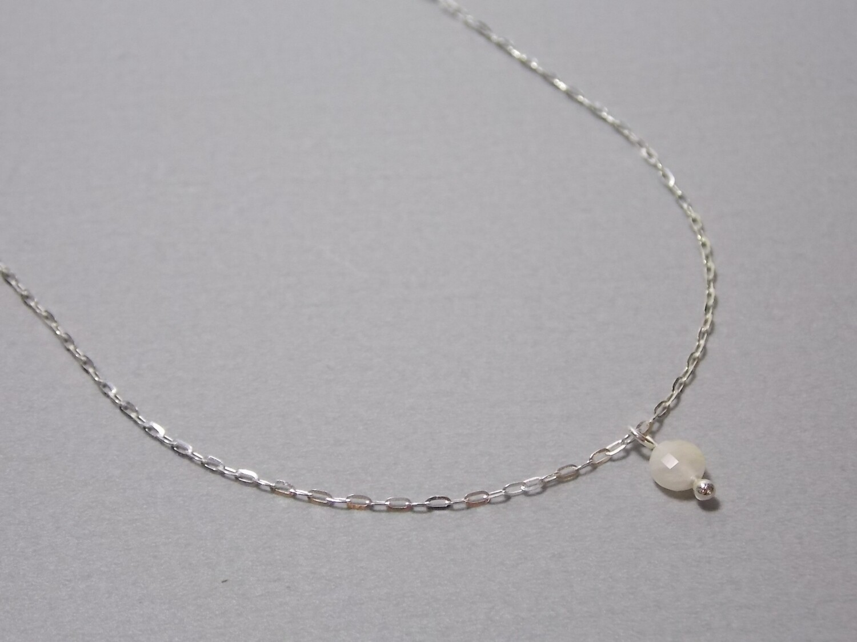 Kurze Halskette Silber mit Mondstein