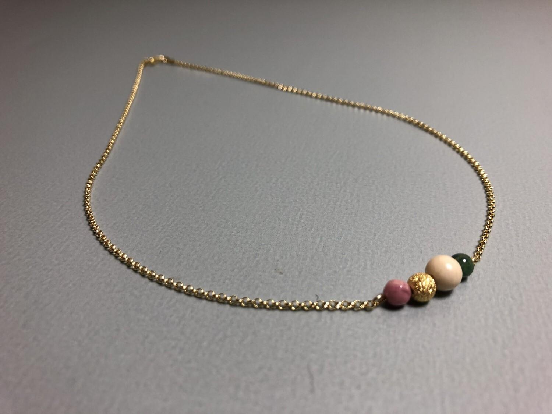 Halskette mit Edelstein Naturstein und Silberkugel vergoldet