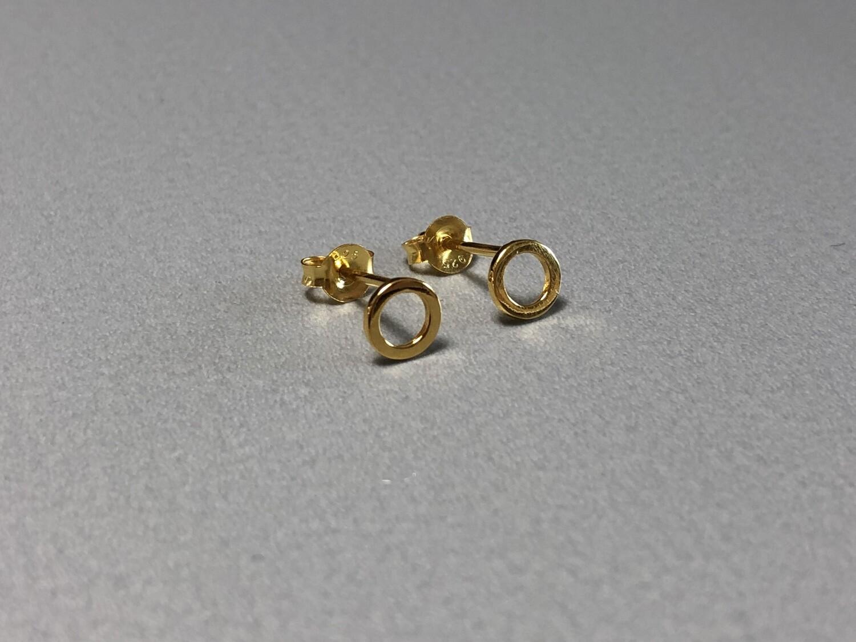 Ohrstecker Ring Silber vergoldet