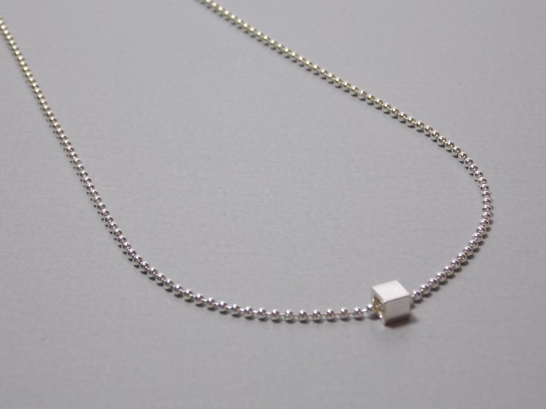 Kugelkette Silber mit Würfel