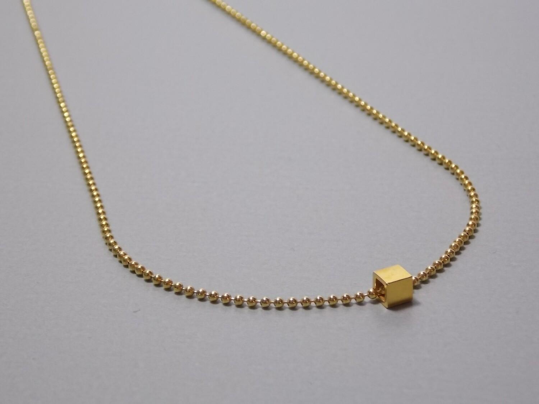 Kugelkette Silber mit Würfel vergoldet