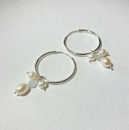 Creole silber mit Perlen und Mondstein