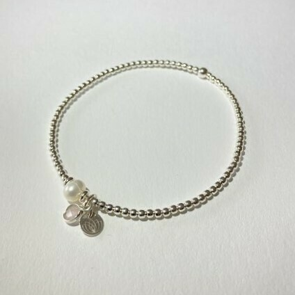 Flexibles Armband silber mit Perle