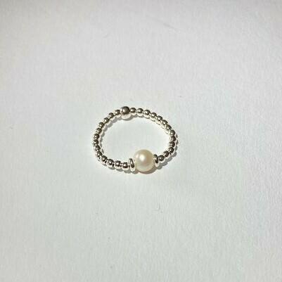 Silberperlenring mit Perle