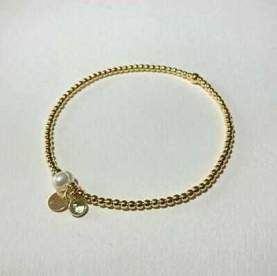Flexibles Armband vergoldet mit Perle