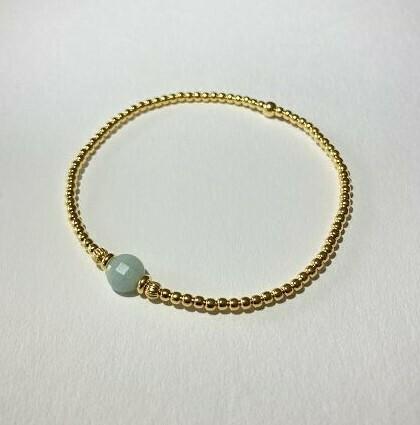 Silberkugelarmband vergoldet mit Amazonit