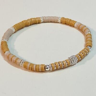 Flexibles Armband aus Katsukiperlen mokka
