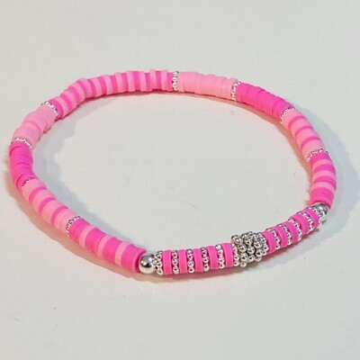 Flexibles Armband aus Katsukiperlen pink