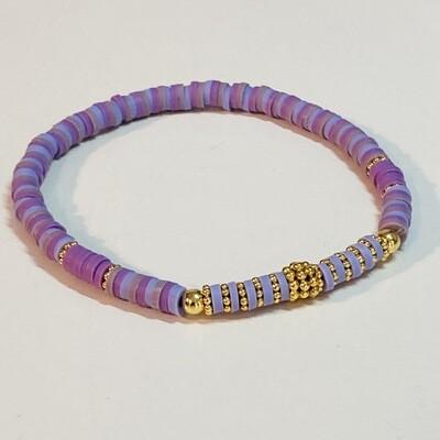Flexibles Armband aus Katsukiperlen flieder lila